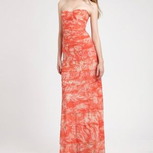 BCBG coral floor length dress. The color is coral
